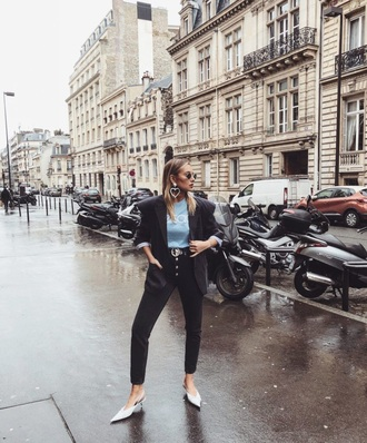 shoes white shoes mules jeans black jeans blazer top blue top black blazer jacket