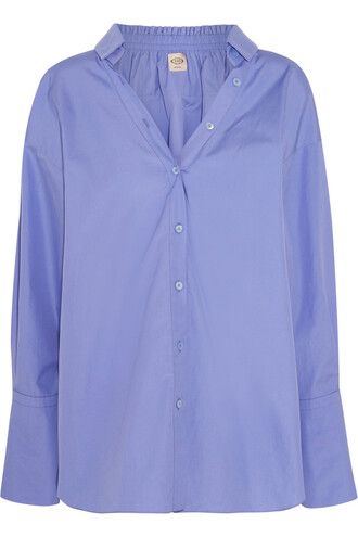 shirt oversized cotton lilac top