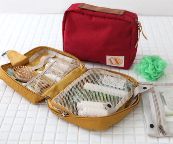 Ithinkso capsule toiletry bag travel cosmetic hanging organizer zipper pouch