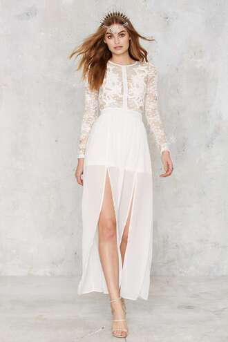 dress embellished dress white dress double slit white lace dress white lace long sleeve dress spring dress