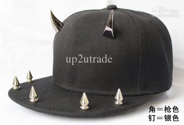 hat spike spikes spiked silver black snapback