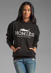 sweater,homies,south central,black,white,hoodie,unisex,homies south central,urban,black sweater,asos,polyvore
