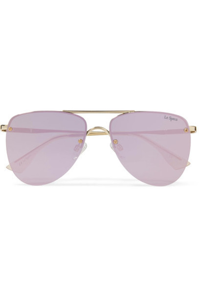 Le Specs - The Prince Aviator-style Gold-tone Mirrored Sunglasses - One size