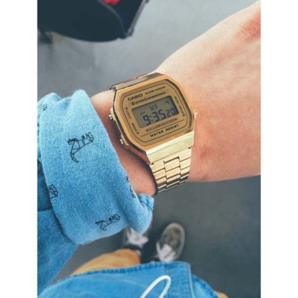 jewels Casio watch Dinosaur print menswear back to school shirt clotches cute watch accessories gold gold watch gold jewelry