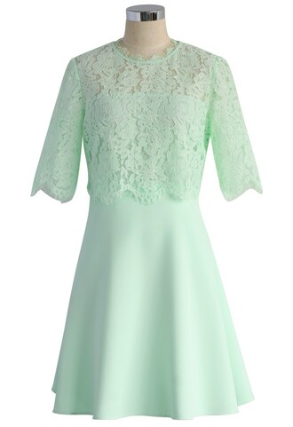 dress fresh mint eyelash lace tiered dress chicwish lace eyelashes