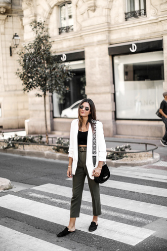 jacket tumblr blazer white blazer top black top black crop top crop tops pants cropped pants khaki khaki pants shoes mules