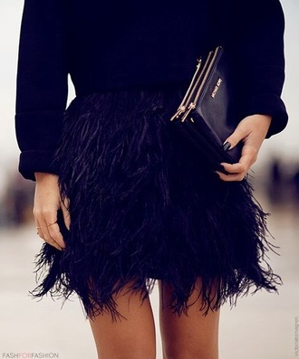 skirt feathers black mini skirt