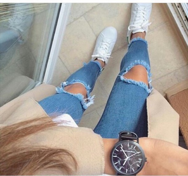 Jeans ripped jeans light blue light washed denim high waisted jeans tumblr tumblr outfit ...