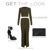 dress,gun clutch,clutch,two-piece,olive green,greee,green,midi dress,midi skirt,ankle strap heels,shoes,bag