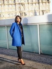 zelda and festus,blogger,blue coat,cropped pants,sweater,pants,coat,gloves,jewels,make-up