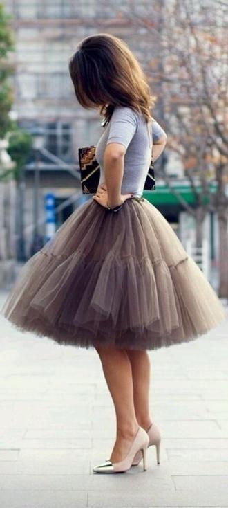 skirt toule brown