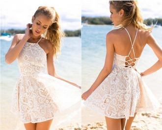 dress white white dress lace dress lace white lace dress white lace cream cream dress skater dress dreamclosetcouture corset dress
