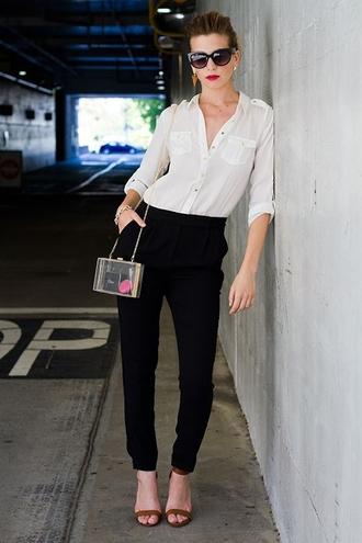 pants white shirt black trousers sunglasses brown sandals blogger