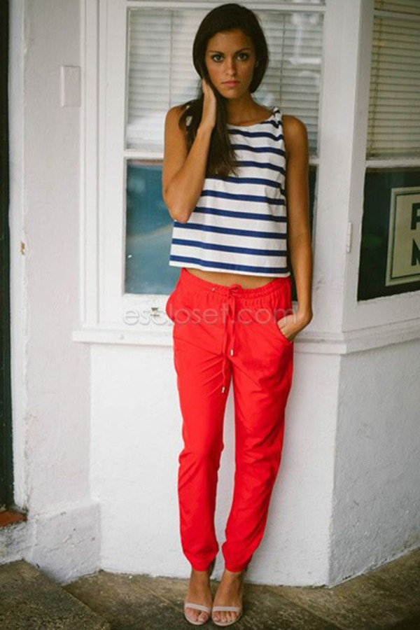 pants red red pants comfy pants slouchy slouchy pants stand out style adjustable cute fashion fashionista love red