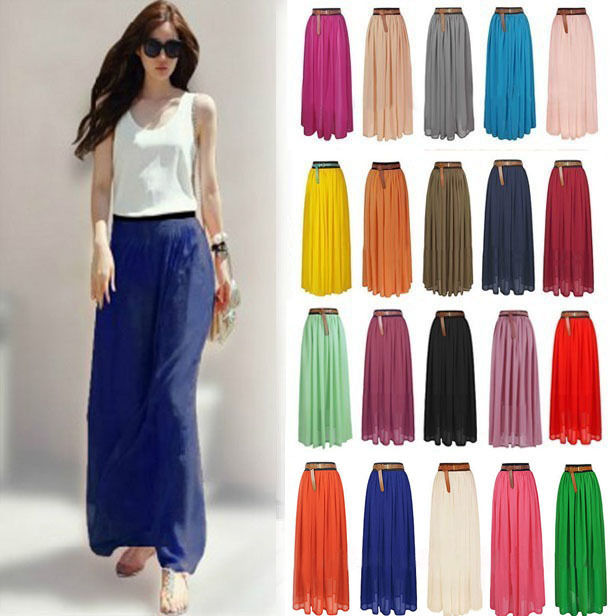 Sexy Lady Chiffon Pleated Retro Long Maxi Dress Elastic Waist Skirt Belt Hot | eBay