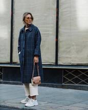 coat,long coat,oversized coat,checkered,pants,cropped pants,sneakers,white sneakers,shoulder bag,aviator sunglasses,earrings