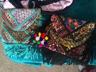 bag purse clutch summer accessories accessories little coins gypsy hippie summer dress colorful fashion