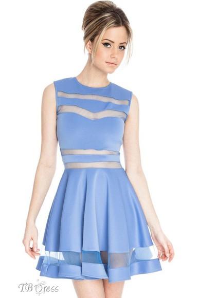 blue tbdress-club dress cute dress girly elegant dress