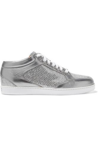 metallic miami sneakers silver leather shoes