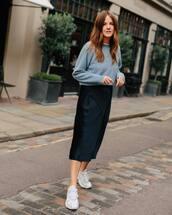 skirt,midi skirt,black skirt,satin,sweater,sneakers,white sneakers