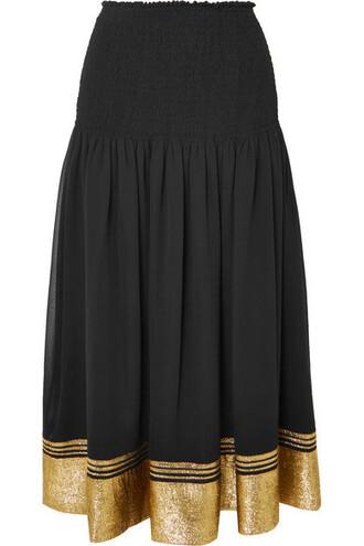 skirt chiffon black silk