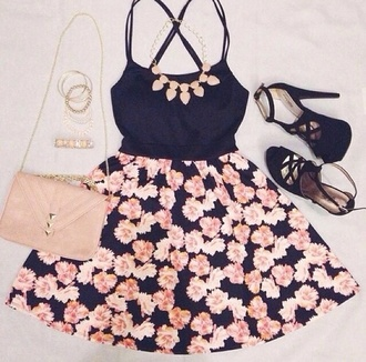 shoes dress girly skirt top jewels heels outfit cute skirts jewelry bag summer dress cute dress tumblr pink floral orange flowers skater skirt