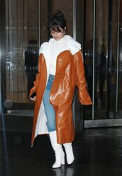 coat,camila cabello,brown,brown coat,streetstyle,Jil Sander,shoes,boots,white shoes,white,white boots