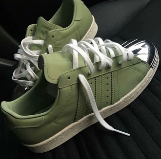 shoes adidas adidas shoes adidas superstars adidas originals adidas supercolor women women shoes girly girly wishlist girl girls sneakers sneakers pastel sneakers low top sneakers green olive green army green pastel green metallic metallic shoes running shoes