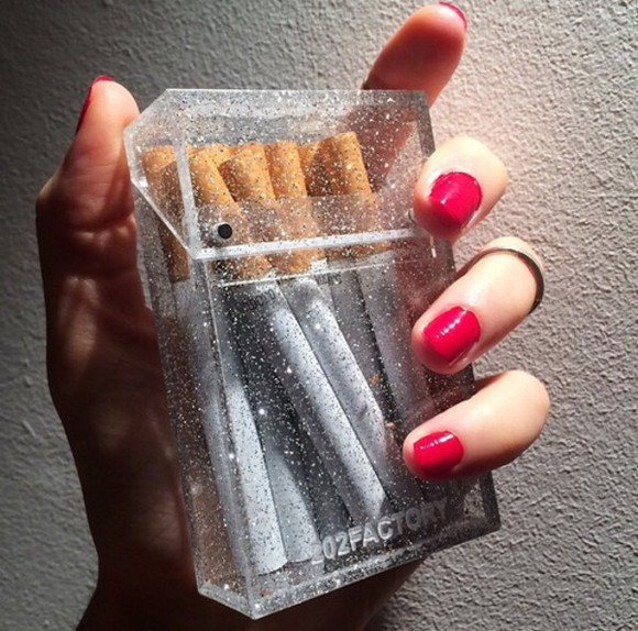 glitter bag cigarette case pouch see through plastic smoking