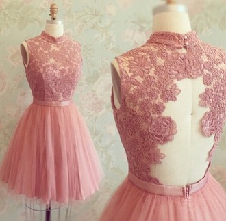 dress pink dress homecoming dress cute dress lace dress flowers