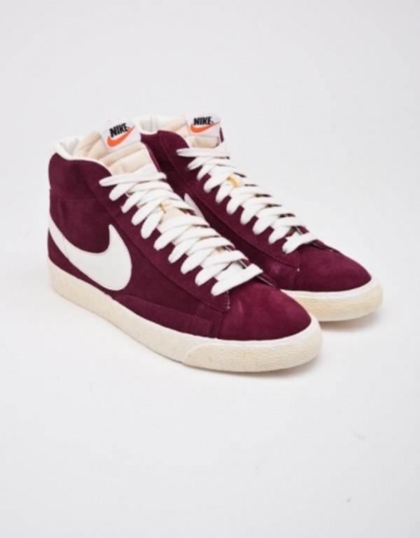 shoes burgundy white nike blazer nike sneakers