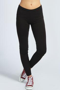 Josie Lace Trim Basic Black Leggings at boohoo.com