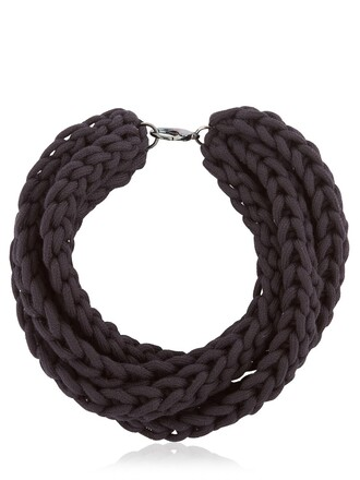 braided necklace cotton black jewels