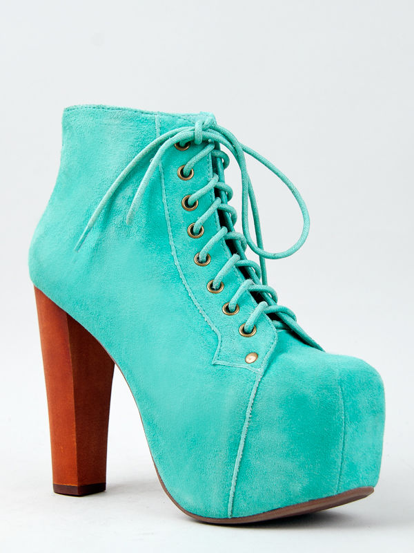 Jeffrey campbell lita turquoise platform heel aqua mint women sz booty boot pump