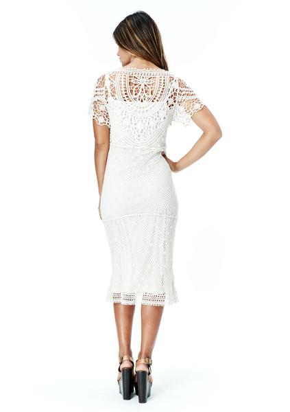 Lovestitch Reisa Crochet Mid Length Dress - LOVESTITCH
