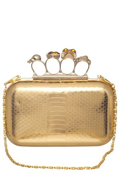 bag clutch knuckle clutch gold