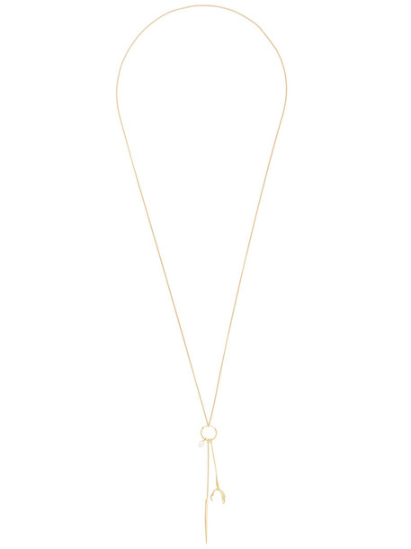 Wouters & Hendrix Gold long necklace long spikes women necklace gold grey metallic jewels