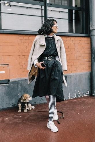dress midi dress black dress belt coat white coat sneakers white sneakers tights streetstyle