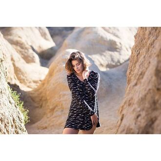 dress neelow dress black and white rvca holidays long sleeves