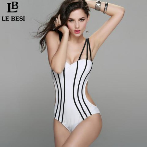 swimwear swimwear printed rihanna swimsuit bathing suit top monokini one piece swimsuit white bikini