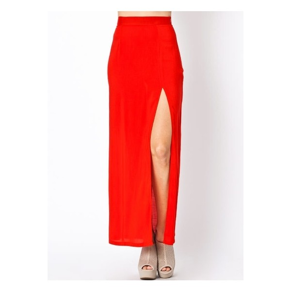 slit maxi skirt - Polyvore