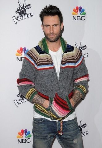 sweater the voice gray zip up sweater adam levine