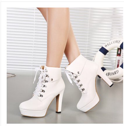Sexy Winter Black Ankle Boots High Heels Platform Lace Up White ...
