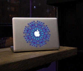phone cover macbook stickers macbook sticker purple blue apple apple macbook mosaic hippie computer sticker computer accessory