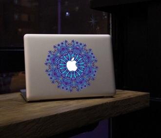 phone cover macbook stickers macbook sticker purple blue apple apple macbook mosaic hippie computer sticker