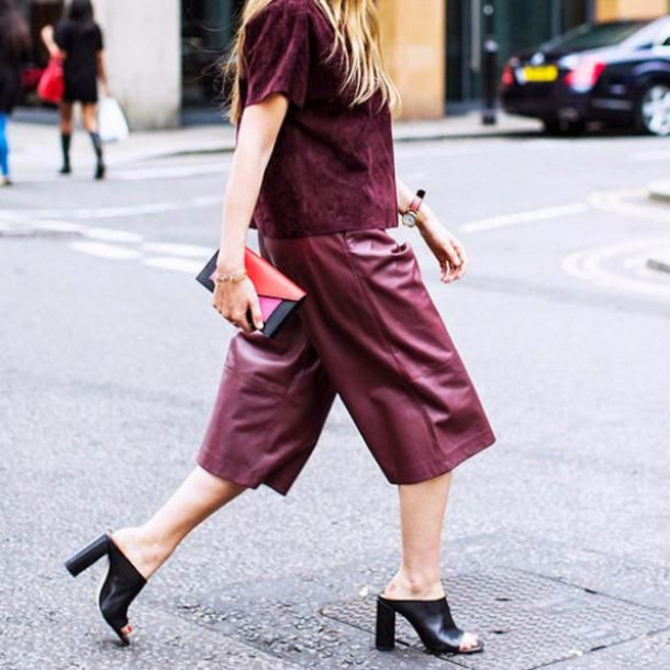pants leather culottes culottes burgundy pants leather pants mules black mules top burgundy burgundy top clutch