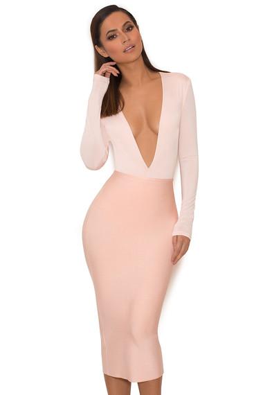Clothing : Bodysuits : 'Lorenza' Pink Silky Jersey Deep V Bodysuit