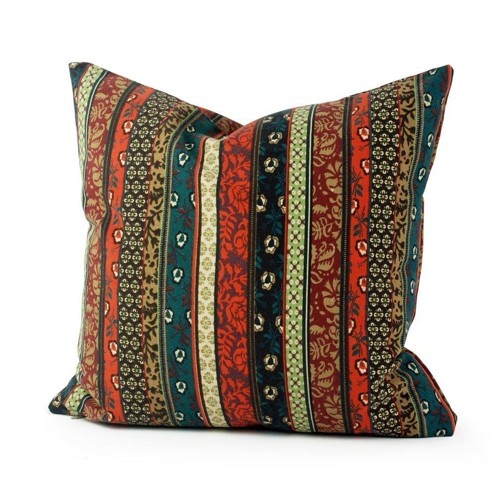 com - Lavievert Ethnic Stripe Canvas Square Toss Pillowcase ...