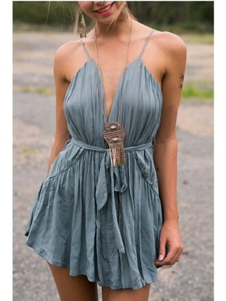 dress girly girl girly wishlist romper boho summer fashion style trendy spring grey rose wholesale-ma