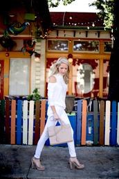 krystal schlegel,blogger,blouse,pants,shoes,white sweater,cut out shoulder,white pants